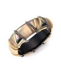 Alexis Bittar | Metallic Pop Surrealist Lucite, Black Mother-of-pearl & Crystal Bangle Bracelet/gold | Lyst