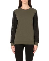 5cm - Natural Mesh-sleeve Cotton-jersey Sweatshirt - Lyst