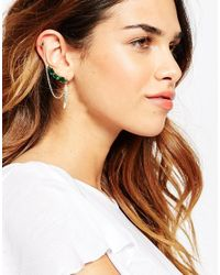 ASOS | Green Feather Detail Ear Cuff And Crawler | Lyst