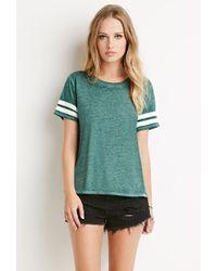 Forever 21 Green Varsity Stripe-sleeved Tee