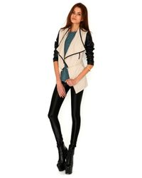 Missguided | Natural Irne Faux Leather Sleeve Multi Jacket in Stone | Lyst