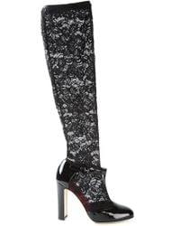 Dolce & Gabbana - Black 'Vally' T-Bar Lace Sock Pumps - Lyst