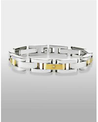 Lord & Taylor | Metallic Mens Stainless Steel And 14 Kt. Yellow Gold Bracelet With Diamond Accents for Men | Lyst