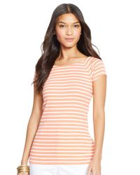 Lauren by Ralph Lauren | Orange Petite Striped Ballet-neck Shirt | Lyst