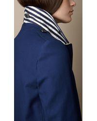 Burberry - Blue Striped Undercollar Stretch Cotton Car Coat - Lyst