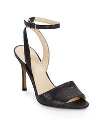 Nine West | Black Flicker Snake-embossed Leather Sandals | Lyst