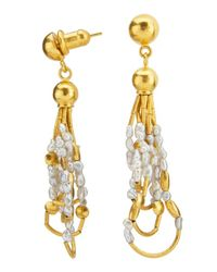 Gurhan | Metallic 24k Gold Pearl Drop Phoenician-style Earrings | Lyst