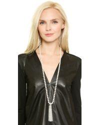 Oscar de la Renta Metallic Tassel & Glass Pearl Necklace - Crystal/silver