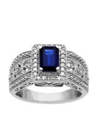 Lord & Taylor | Blue Sterling Silver Sapphire And Diamond Ring | Lyst