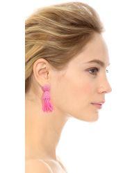 Oscar de la Renta   Pink Short Tassel Clip On Earrings Flamingo   Lyst