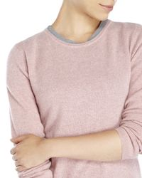 Qi | Pink Crew Neck Knit Cashmere Sweater | Lyst