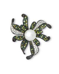 Kenneth Jay Lane | Multicolor Multi Green Flower Brooch | Lyst