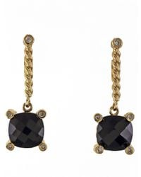 Effy | Black Onyx, Diamond And 14k Yellow Gold Earrings | Lyst