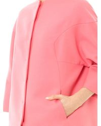 Valentino - Pink Collarless Wooltwill Cocoon Coat - Lyst