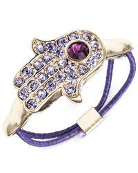 RACHEL Rachel Roy Gold-Tone Purple Hamsa Hand Stretch Ring