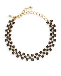 Oscar de la Renta | Metallic Black Swarovski Crystal Choker Necklace/goldtone | Lyst