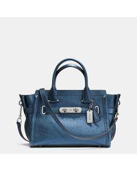 COACH | Blue Borsa Mini Swagger Piccola 2 Manici Pelle Con Lock | Lyst