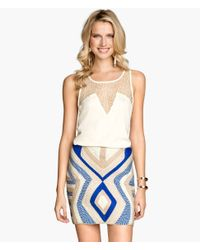 H&M Blue Rope-Embroidered Skirt