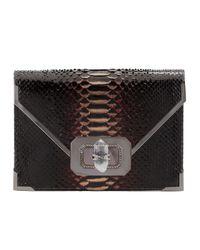 Notte by Marchesa Multicolor Valentina Large Python Envelope Clutch Bag