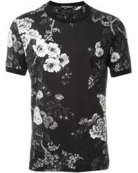 Dolce & Gabbana Black Floral Print T-shirt for men