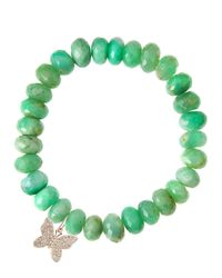 Sydney Evan | Green Chrysoprase Rondelle Beaded Bracelet With Round Evil Eye Charm (Made To Order) | Lyst