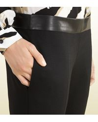 Gucci - Black Wool Trouser With Leather Waistband - Lyst