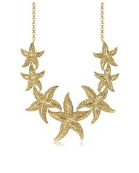 Roberto Cavalli | Metallic Sea Life Gold Tone Metal Star Fish Necklace W/Crystals | Lyst