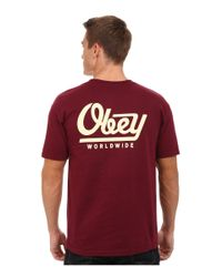 Obey | Red Worldwide Tee for Men | Lyst