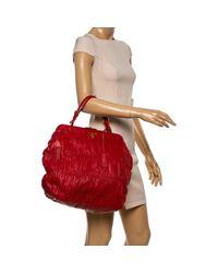 Prada Red Gaufre Nappa Leather Dressy Frame Satchel