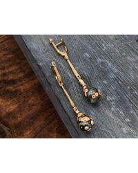 Alex Sepkus Metallic 18 Karat Gold Sticks And Stones Earrings With Ocean Jasper Drops