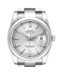 Rolex Metallic Datejust 36 Silver Baton Dial Steel Men