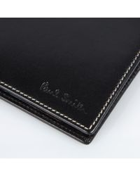 Paul Smith - Black Leather Signature Stripe Trim Billfold Wallet for Men - Lyst