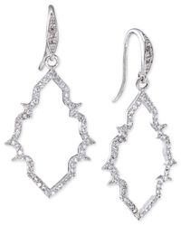 Carolee | Metallic Silver-tone Crystal Open Frame Drop Earrings | Lyst