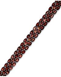 Macy's | Metallic Garnet Three-row Bracelet In Sterling Silver (25 Ct. T.w.) | Lyst