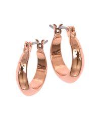 Anne Klein | Pink Rose Goldtone Huggie Hoop Earrings, 0.6in | Lyst