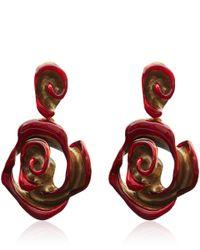 Oscar de la Renta | Red Resin Painted Flower Earrings | Lyst