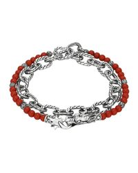 John Hardy | Red Double Wrap Silver Link Bracelet With Coral | Lyst