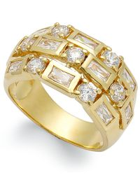Macy's - Metallic 14k Gold Over Sterling Silver Ring, Cubic Zirconia 3-row Ring (3 Ct. T.w.) - Lyst
