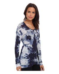 Calvin Klein Jeans | Blue Long Sleeve U-neck Printed Top | Lyst