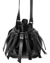 Versus - Black Strappy Velvet Shoulder Bag - Lyst