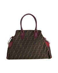 Fendi - Brown Purple and Red Trim Zucca Canvas Bag De Jour Tote - Lyst