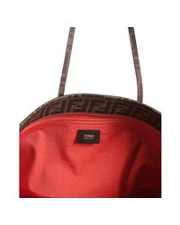 Fendi | Brown Red Perforated Zucca Spalmati Roll Large Tote | Lyst
