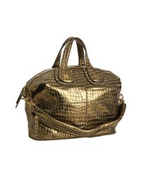 Givenchy | Metallic Gold Croc Embossed Nightinglae Moyen Medium Bag | Lyst