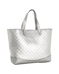 Gucci | Metallic Silver Ssima Leather Large Tote | Lyst