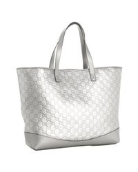 Gucci - Metallic Silver Ssima Leather Large Tote - Lyst