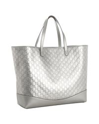 Gucci | Metallic Silver Ssima Leather Travel Tote | Lyst