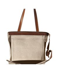Hermès - Natural Beige Canvas Mira Leather Detail Tall Tote - Lyst