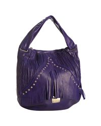Jimmy Choo | Purple Studded Leather Iman Fringe Hobo | Lyst