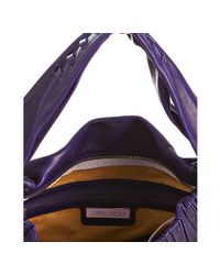 Jimmy Choo | Purple Studded Leather Iman Fringe Hobo | Lyst