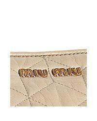 Miu Miu - Natural Ivory Quilted Lambskin Zip Pocket Satchel - Lyst